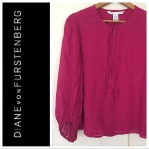 Diane von Furstenberg Blouse Double Buttons Pink 6